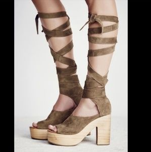 Free People Touch The Sky Wrap Platform Sandals❤